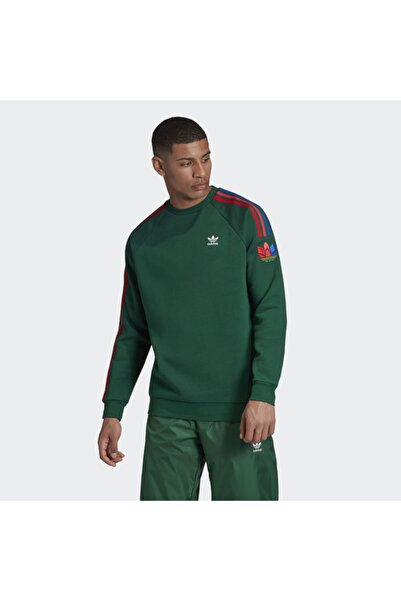 adidas Adicolor 3d Trefoil 3-stripes Erkek Yeşil Sweatshirt (gf02