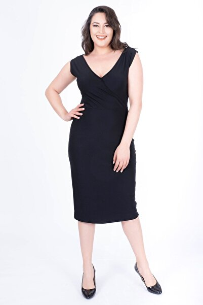 MYLİNE Kadın Siyah Damla Yaka Anvelop Elbise 34564