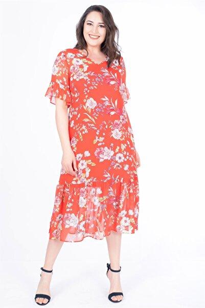 MYLİNE Kadın Kırmızı Volanlı Uzun Elbise 34603