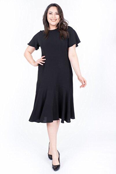 MYLİNE Kadın Siyah Eteği Volanlı Uzun Elbise 34567