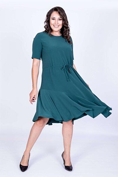 MYLİNE Kadın Yeşil Eteği Asimetrik Volanlı Elbise 35055