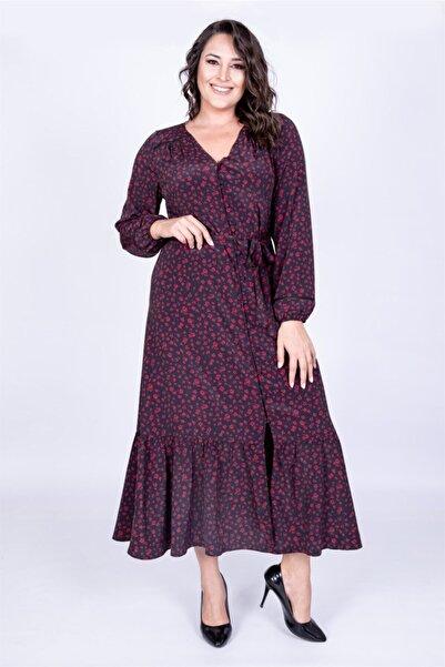 MYLİNE Kadın Siyah V Yaka Uzun Elbise 35053