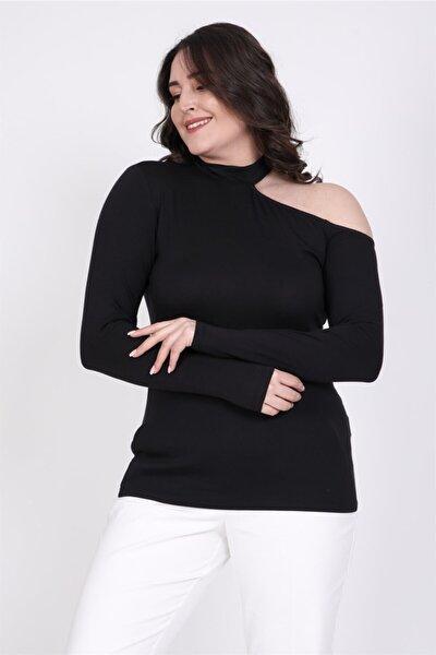 MYLİNE Kadın Siyah Tasma Yaka Düşük Omuz Bluz