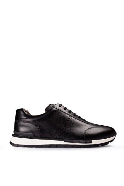 Deery Erkek Siyah Hakiki Deri Sneaker 01738MLCVT01