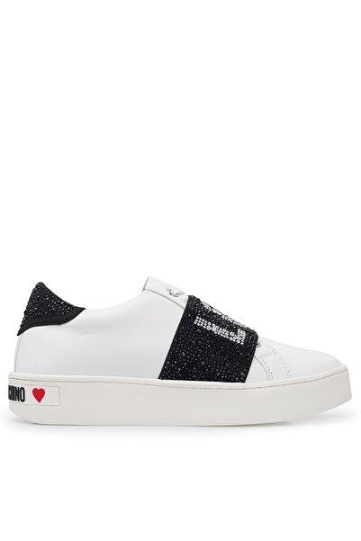 Love Moschino Kadın Beyaz Hakiki Deri Ayakkabı