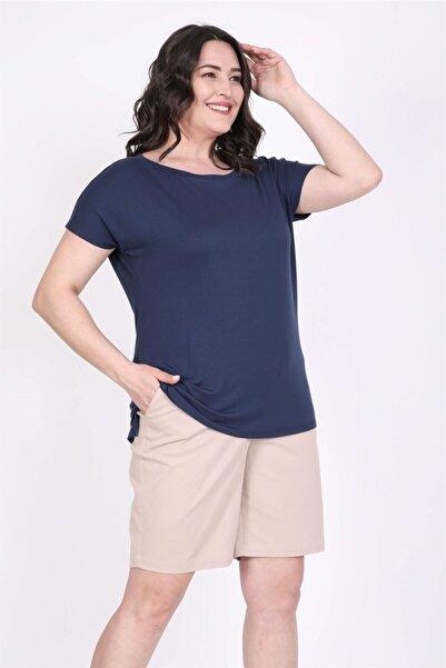 MYLİNE Kadın Lacivert Karmen Yakalı Tişört