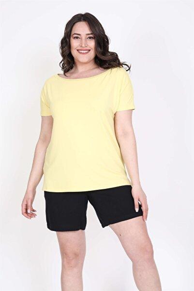 MYLİNE Kadın Sarı Karmen Yakalı Tişört