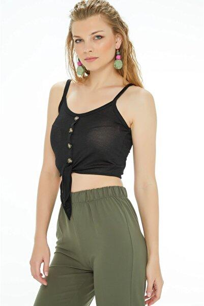 Fulla Moda Kadın Siyah İp Askılı Düğmeli Bluz
