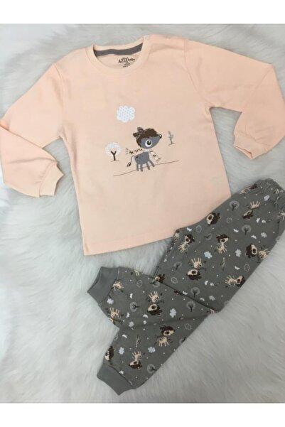 Aziz Bebe Kız Çocuk Somon Renk Pamuklu Penye Pijama Takımı