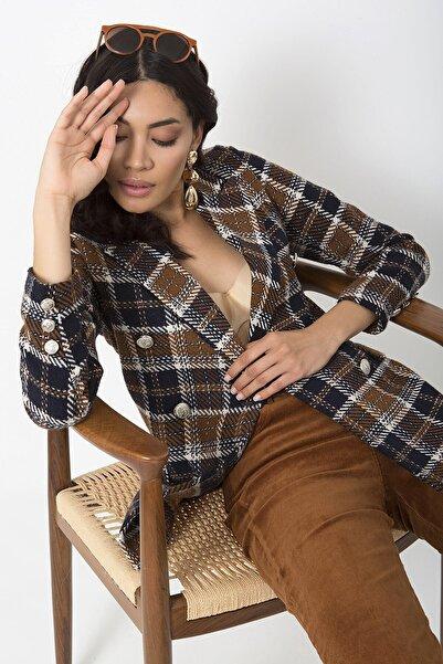 ZİNDİ Kadın Lacivert Ekose Blazer Ceket