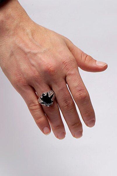 Ninova Silver Erkek Hasır İşlemeli Siyah Akik Taşlı Gümüş Yüzük NNVSLVR03505