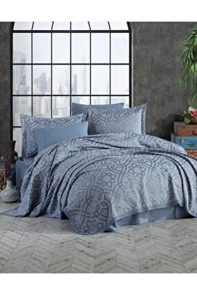 Yatak Örtüsü Alen Mavi Çift Kişilik