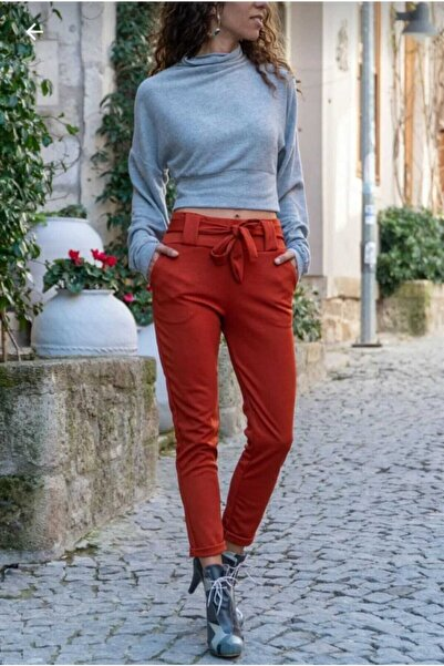 MOF Kadın Kiremit Kuşaklı Pantolon