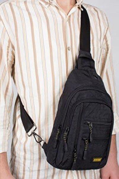 Unisex Siyah Kumaş Çapraz Göğüs Body Bag Ve Sırt Çantası