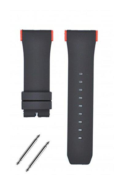 Puma Pu102941003 Saat Uyumlu Kırmızı Renk Aparatlı Siyah Renk Silikon Saat Kordonu