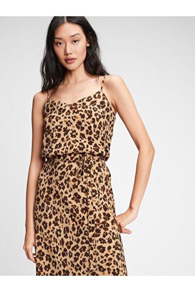 GAP Kadın Kahverengi Desenli Askılı Bluz