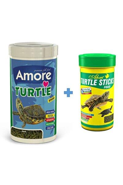 AMORE Turtle Sticks 1000ml + Ahm Turtle 250ml Vitamin Kalsiyum Mineral Plus Sürüngen Ve Kaplumbağa Yemi