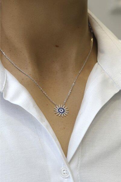 Marjin Kadın Zirkon Taşlı Mavi Nazarlıklı Güneş Figürlü Gümüş Renkli Kolyegümüş