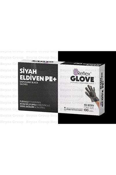 Reflex Siyah Eldiven Pe+ Hışır Kullan At Eldiven Standart Boy Iki El Için Uygun 1 Kutu (paket) 100 Adet