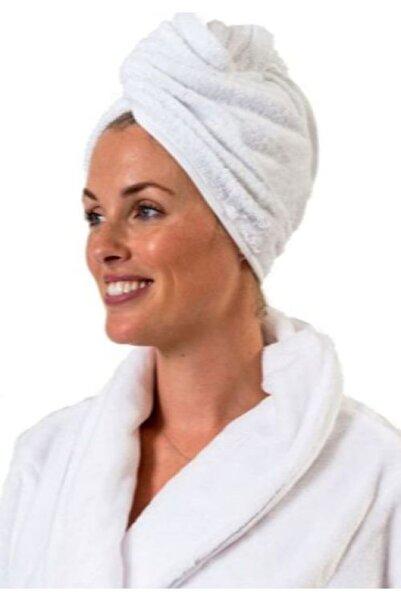 DensHaus %100 Pamuk Beyaz Düz Eponj Düğmeli Havlu Saç Kurulama Bonesi