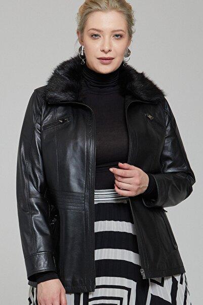 Derimod Kadın Siyah  Mira Plus Deri Ceket