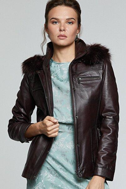 Derimod Kadın Bordo Deri Ceket