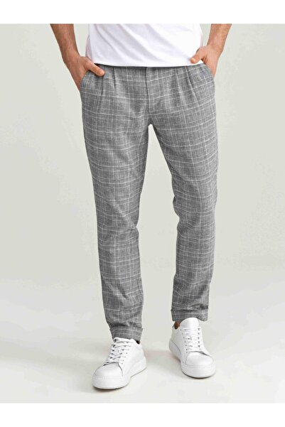 Xint Xınt Erkek Keten Slim Fit Ekoseli Pantolon