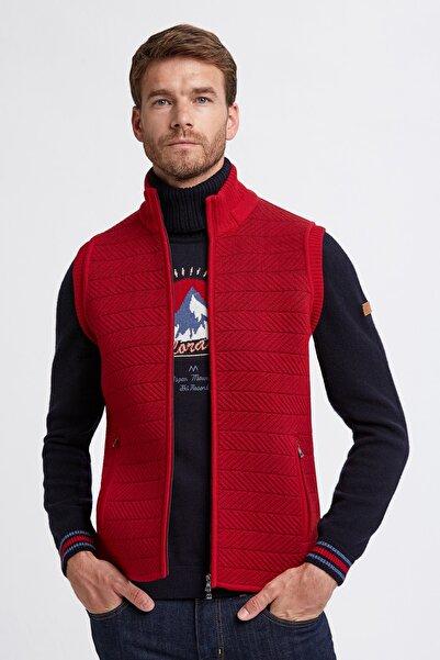Hemington Erkek Koyu Kırmızı Yün Activewear Spor Triko Yelek