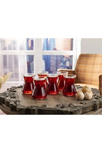 Düz Cam 6'lı Çay Bardağı 125 Ml