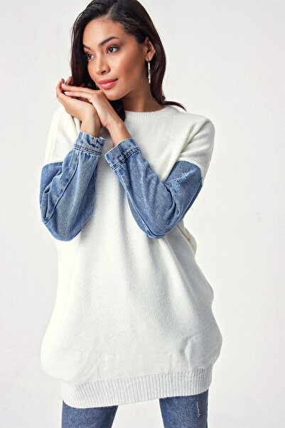 Bigdart Kadın Ekru Kol Kot Detaylı Triko Tunik