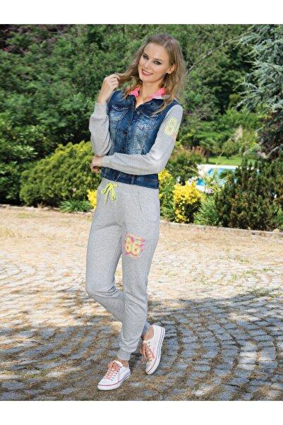 Anıl Kadın Gri Eşofman Pamuklu Kot Detaylı Üst Pantolon Takım 9352