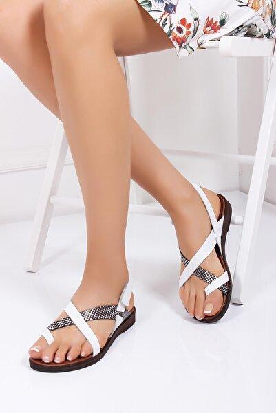 Deripabuc Kadın Beyaz Hakiki Deri Sandalet Dp-0074