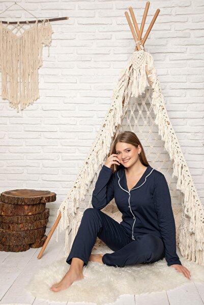 STRAWBERRY Kadın Lacivert Pamuklu Düğmeli Pijama Takim