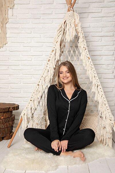 STRAWBERRY Kadın Siyah Pamuklu Düğmeli Pijama Takim