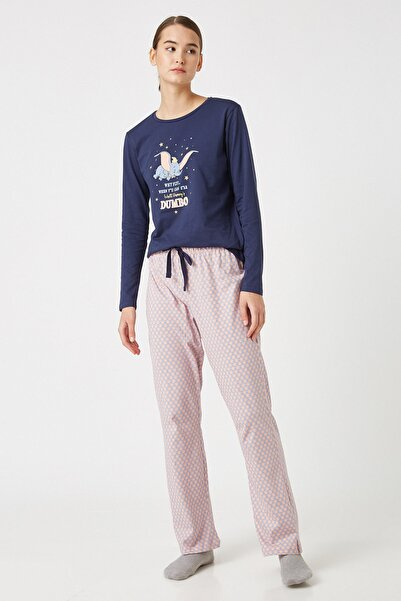 Koton Kadın Grı Melange Desenli Pijama Takımı 1KLK79337MK