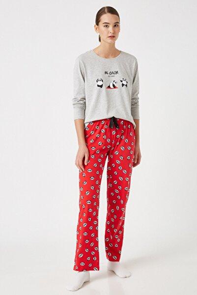 Koton Kadın Kırmızı Desenli Pijama Takımı 1KLK79352MK