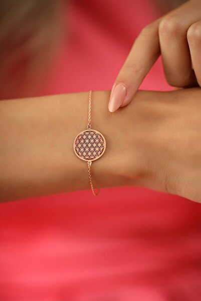 Ninova Silver Yaşam Çiçeği Model Rose Kaplama Gümüş Italyan Bileklik