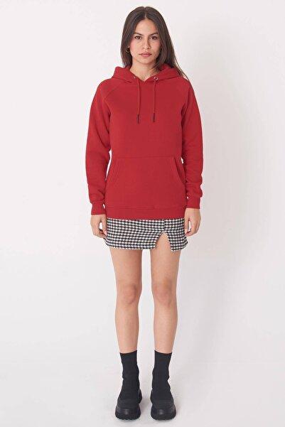 Addax Kadın Kırmızı Cep Detaylı Sweatshirt S7066-1 - Z2 ADX-0000019965