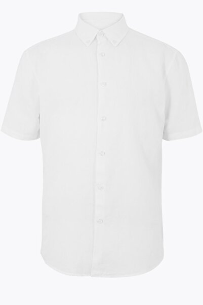 Marks & Spencer Erkek Beyaz Kolay Ütülenebilir Keten Karışımlı Gömlek T25002028M