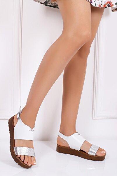 Deripabuc Kadın Beyaz Hakiki Deri Sandalet Dp-0093