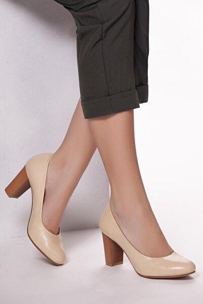 Deripabuc Hakiki Deri Bej Kadın Topuklu Deri Ayakkabı SHN-0736