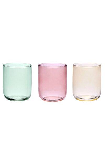 English Home Pembe Sarı Yeşil Rosalinda Cam 3'lü Meşrubat Bardağı 270 ml