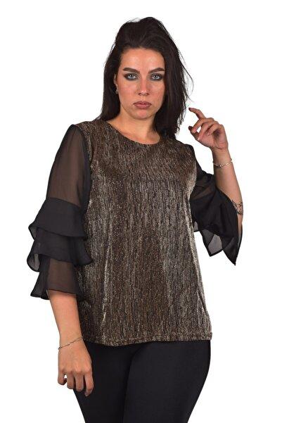 Ultimod Kadın Altın Kolu Şifon Simli Büyük Beden Bluz