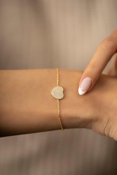 İzla Design Kadın Kalp Model Altın Kaplama Gümüş İtalyan Bileklik PKT-TLYSLVR0410