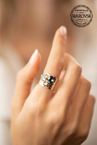 Kadın Swarovski Taşlı Üç Taş Model Rose Kaplama Gümüş Yüzük PKT-SBS0481