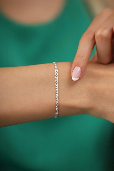 İzla Design Kadın Ezme Barlı Model Gümüş İtalyan Bileklik