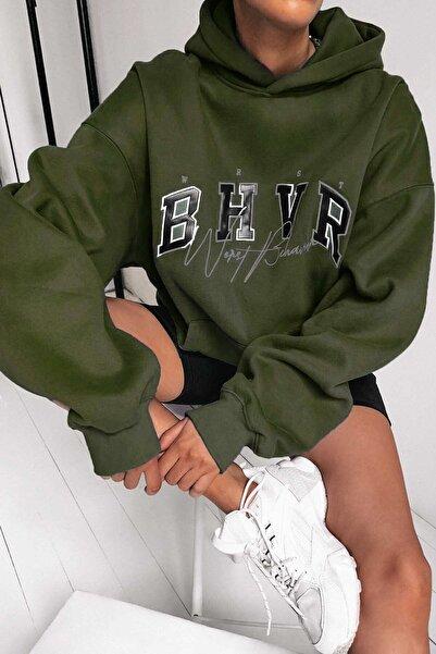 Madmext Mad Girls Haki Nakışlı Kapüşonlu Sweatshirt Mg812