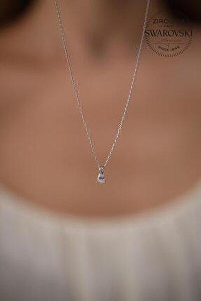 Kadın Taşlı Damla Model Gümüş Kolye