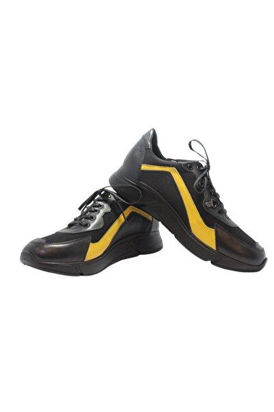 Elite Erkek Siyah Sarı Bağcıklı Baskılı Hakiki Deri Ayakkabı