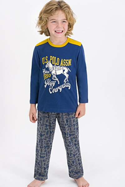 U.S POLO Erkek Çocuk Koyu Indigo Pijama Takımı